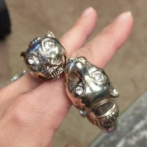Animal head bracelet silver